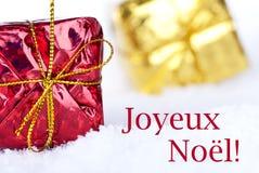Joyeux Noel en la nieve Imagen de archivo libre de regalías