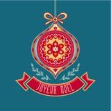 Joyeux Noel Feste felici Carta francese di Buon Natale Immagini Stock