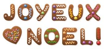 Joyeux Noel French Gingerbread Christmas Royalty Free Stock Photo