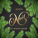 Joyeux Noel French Merry Christmas and Bonne Annee New Year holiday golden hand drawn quote calligraphy greeting card on Christmas. Wreath ornament background Royalty Free Stock Photos