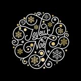 Joyeux Noel French Merry Christmas calligraphy lettering and golden snowflake pattern on white background for greeting card design. Vector golden Christmas Stock Photo