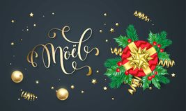 Joyeux Noel French Merry Christmas golden decoration and gold font calligraphy greeting card design. Vector Christmas gift wreath Stock Photo