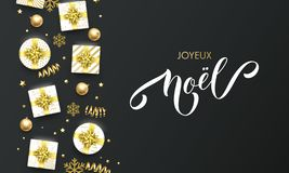 Joyeux Noel French Merry Christmas golden greeting card on premium black background. Vector Christmas calligraphy lettering, gifts stock illustration