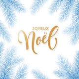 Joyeux Noel French Merry Christmas holiday golden hand drawn calligraphy text greeting and fir branch wreath decoration for card d. Esign template. Vector Stock Photos