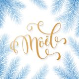 Joyeux Noel French Merry Christmas holiday golden hand drawn calligraphy text greeting and fir or pine branch in blue snow frost f. Or card design template Stock Image
