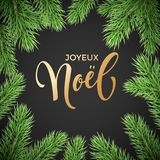 Joyeux Noel French Merry Christmas holiday golden hand drawn calligraphy text greeting and fir or pine branch wreath decoration fo. R card design template Royalty Free Stock Photos