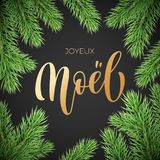 Joyeux Noel French Merry Christmas holiday golden hand drawn calligraphy text greeting and fir or pine branch wreath decoration fo. R card design template Royalty Free Stock Images