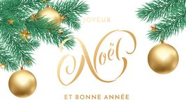 Joyeux Noel French Merry Christmas holiday golden hand drawn calligraphy text greeting and gold star and ball decoration for card. Design template. Vector Stock Images