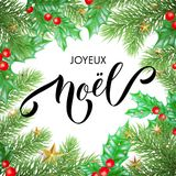 Joyeux Noel French Merry Christmas holiday hand drawn calligraphy text greeting and holly wreath decoration for card design templa. Te. Vector Christmas tree Stock Images