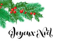 Joyeux Noel French Merry Christmas holiday hand drawn calligraphy text greeting and holly wreath decoration for card design templa. Te. Vector Christmas tree fir Royalty Free Stock Photo
