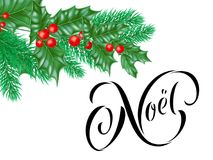 Joyeux Noel French Merry Christmas holiday hand drawn calligraphy text greeting and holly wreath decoration for card design templa. Te. Vector Christmas tree Stock Photography
