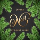 Joyeux Noel French Merry Christmas och handen för ferie Bonne Annee för det nya året den drog guld- citerar kalligrafihälsningkor vektor illustrationer