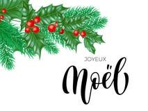 Joyeux Noel French Merry Christmas planlägger moderiktig citationsteckenkalligrafi och järnekkransen på vit högvärdig bakgrund fö stock illustrationer