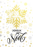 Joyeux Noel French Merry Christmas text golden glitter snowflake pattern Royalty Free Stock Images