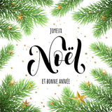 Joyeux Noel French Merry Christmas tree branches. Joyeux Noel, Bonne Annee French text Merry Christmas and Happy New Year in frame of tree branches. Festive Stock Photography