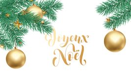 Joyeux Noel French Merry Christmas trendy golden calligraphy and fir branch wreath on white snow background for winter holiday des. Ign. Vector New Year tree Stock Photos