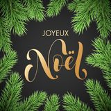 Joyeux Noel French Merry Christmas trendy golden quote calligraphy and fir branch wreath on black premium background for winter ho. Liday design template. Vector Royalty Free Stock Photography