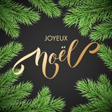 Joyeux Noel French Merry Christmas trendy golden quote calligraphy and fir branch wreath on black premium background for winter ho. Liday design template. Vector Stock Photo