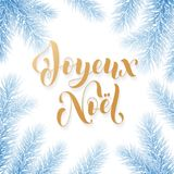 Joyeux Noel French Merry Christmas trendy golden quote calligraphy and fir branch wreath on white frozen blue snow background for. Winter holiday design Royalty Free Stock Image