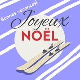 Joyeux Noel French text with Christmas wishes.Cartoon style poster. stock illustration