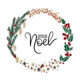 Joyeux Noel Hand Lettering Greeting Card De kroon van Kerstmis Stock Afbeeldingen