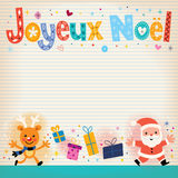 Joyeux Noel - Merry Christmas in French card Stock Images