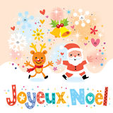 Joyeux Noel - Merry Christmas in French greeting card Royalty Free Stock Photo
