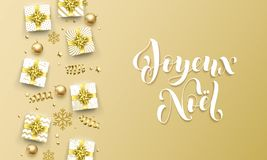 Joyeux Noel Merry Christmas golden French greeting card of gold gifts, stars confetti and snowflakes. Vector Christmas des. Joyeux Noel Merry Christmas golden royalty free illustration