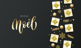 Joyeux Noel Merry Christmas golden lettering text on premium black background. Vector French Christmas greeting card calligraphy l. Ettering, gifts, snowflakes stock illustration