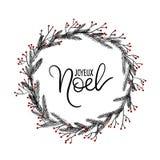 Joyeux Noel ręki literowania kartka z pozdrowieniami Boże Narodzenie wianek Obraz Stock
