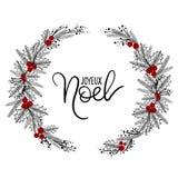 Joyeux Noel ręki literowania kartka z pozdrowieniami Boże Narodzenie wianek royalty ilustracja