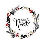 Joyeux Noel ręki literowania kartka z pozdrowieniami Boże Narodzenie wianek ilustracja wektor