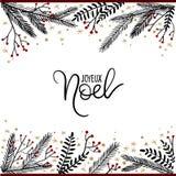 Joyeux Noel ręki literowania kartka z pozdrowieniami Fotografia Stock