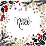 Joyeux Noel ręki literowania kartka z pozdrowieniami Zdjęcie Stock