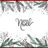 Joyeux Noel ręki literowania kartka z pozdrowieniami ilustracji