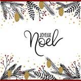 Joyeux Noel ręki literowania kartka z pozdrowieniami Zdjęcie Royalty Free