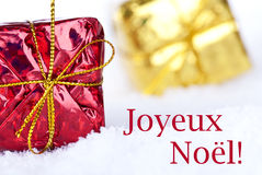 Joyeux Noel in the Snow Royalty Free Stock Image