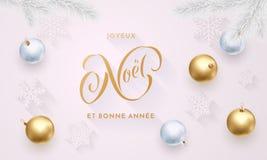 Joyeux Noel y decoración de oro de la Feliz Navidad francesa de Bonne Annee y de la Feliz Año Nuevo, fuente del oro de la caligra libre illustration
