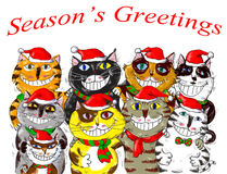 Joyeux Noël Santa Cats Greetings Image stock