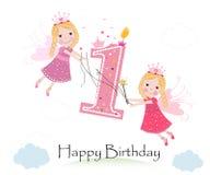 Joyeux premier anniversaire avec le vecteur mignon de carte de voeux de conte de fées Images libres de droits