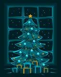 Joyeux réveillon de Noël et nuit, carte de voeux saisonnière d'hiver de bonne année Images libres de droits