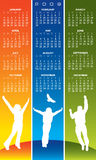 Joyful 2009 Calender. An illustrated 2009 calender with a design of colorful stripes and silhouettes of people jumping with joy Stock Image