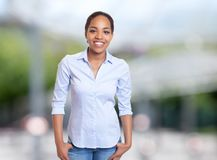 Joyful african american businesswoman. Outdoors in summer Stock Image