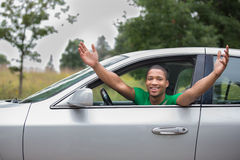 Joyful African American Driver Royalty Free Stock Photos