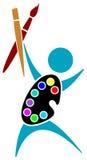 Joyful artist. Isolated line art logo design vector illustration