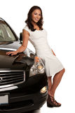 Joyful Asian Female Standing by the Car Royalty Free Stock Image