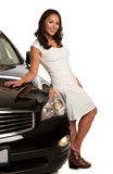 Joyful Asian Female Standing by the Car Stock Photography