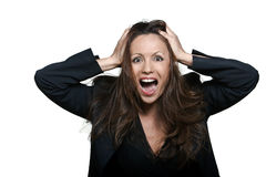 Joyful Asian woman screaming Stock Image