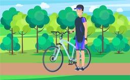 Joyful Athlete on Track with Bicycle Illustration Stock Images