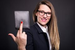 Joyful attractive business woman holding her wallet Stock Photography